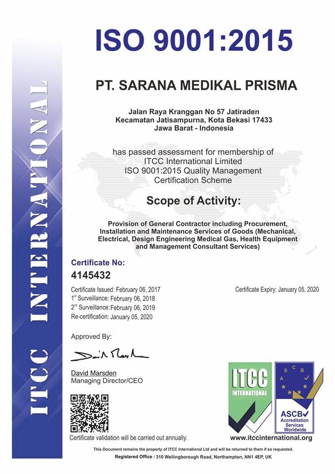 PT. Sarana Medikal Prisma mendapatkan SERTIFIKAT ISO 9001...
