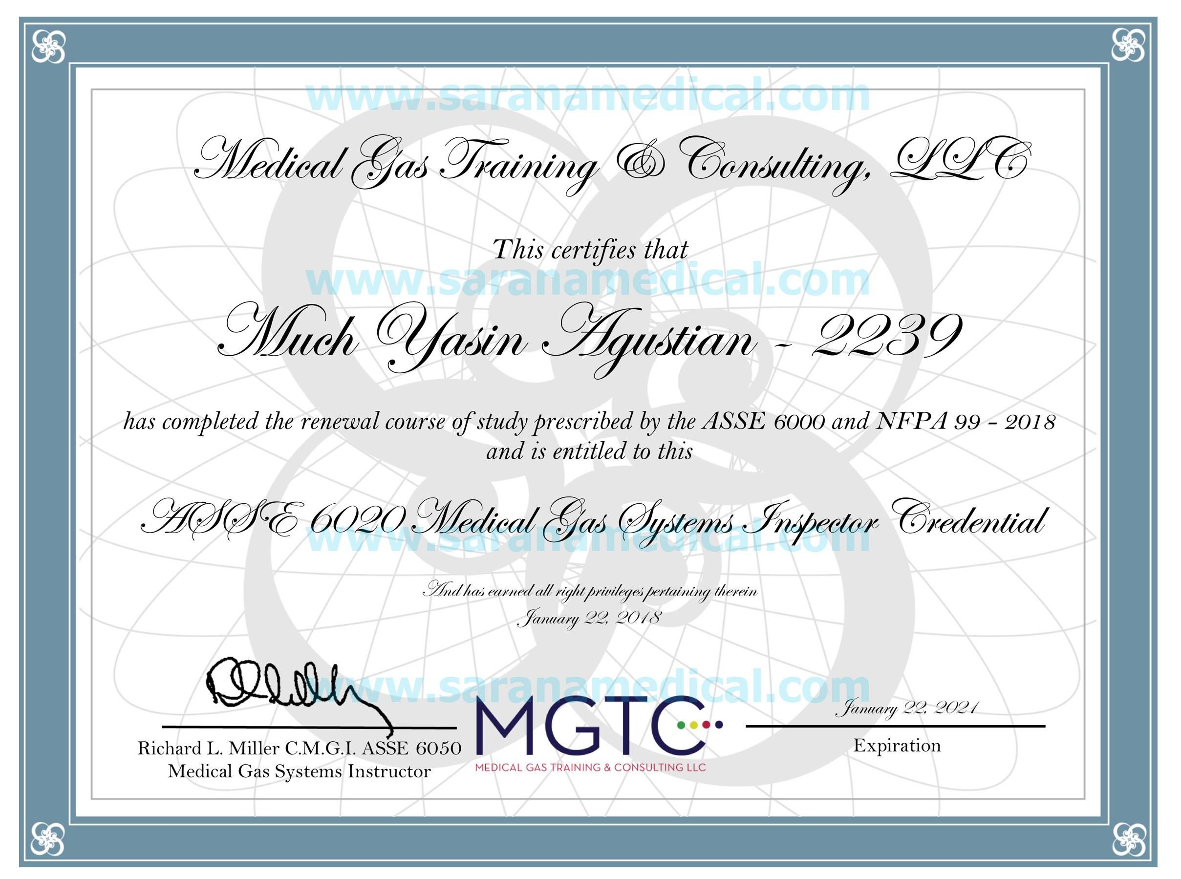 Tenaga ahli gas medis bersertifikat  ASSE 6020 Medical Ga...